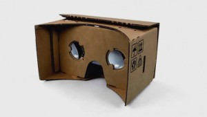 Google Cardboard -- it looks jenky at first glance, but it's completely compatible with most cellphone displays.
