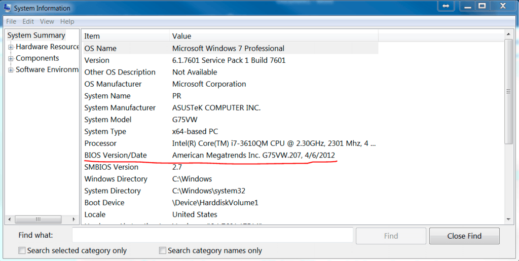 How to check BIOS System Information Tool msinfo32