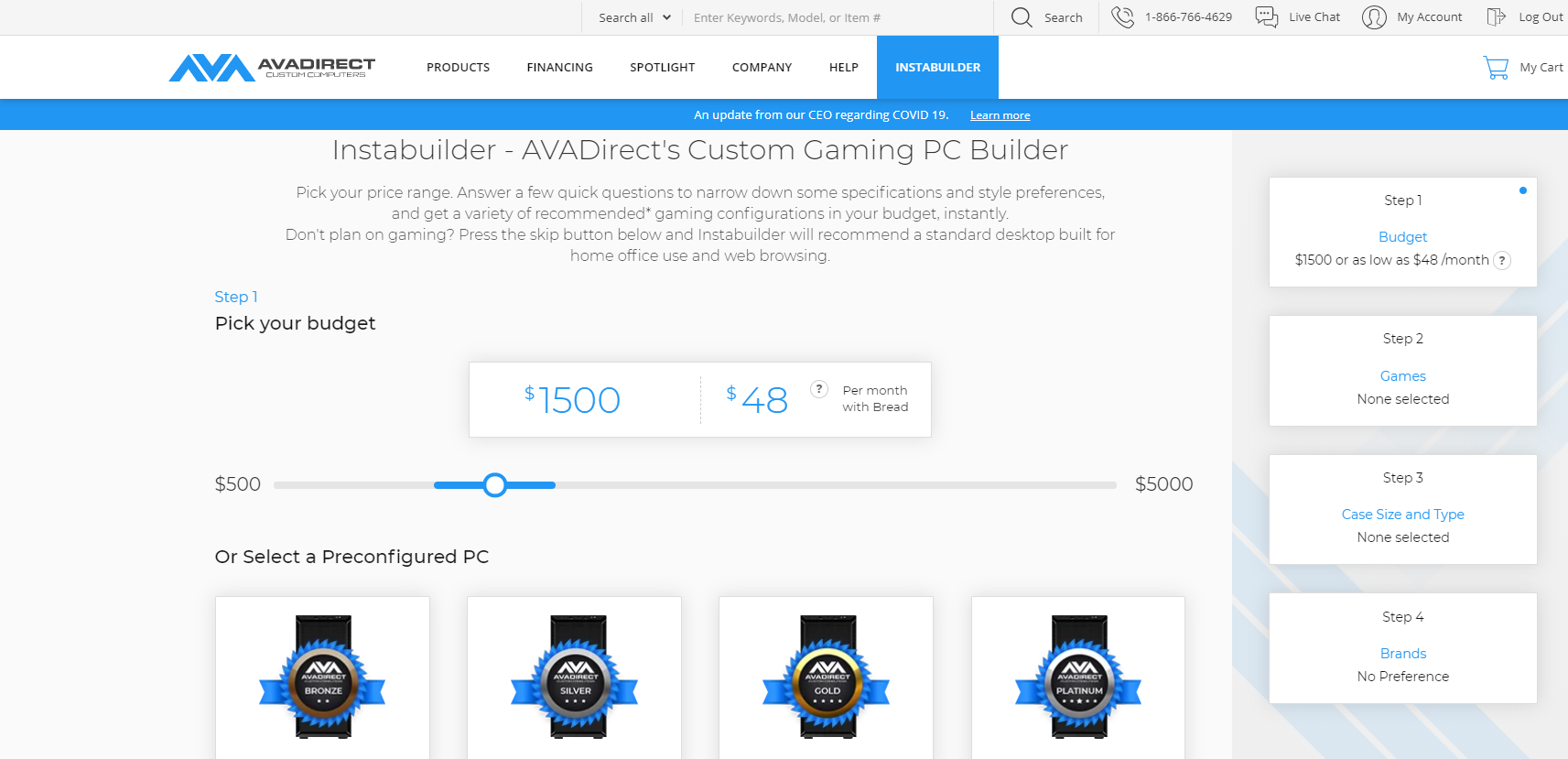Instabuilder- Pick your Gaming PC budget